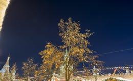 Iluminación de los días de fiesta de la Navidad y del Año Nuevo en la noche, Plaza Roja en Moscú, Rusia Fotografía de archivo libre de regalías