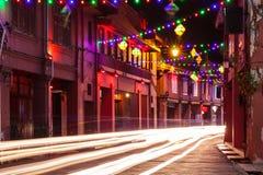 Iluminación del día de fiesta en la calle de Malaca, Malasia Imagen de archivo
