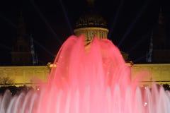 Iluminación del palacio de Mnac por el Año Nuevo 2014 Fotografía de archivo