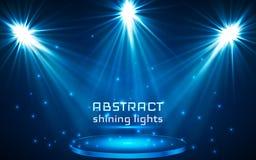 Iluminación del punto de la etapa Luz mágica Fondo azul del vector stock de ilustración