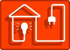 Iluminación en el símbolo de la casa Imagen de archivo