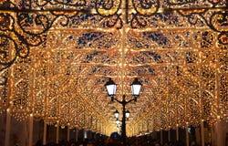 Iluminación festiva del ` s del Año Nuevo en Moscú Imágenes de archivo libres de regalías