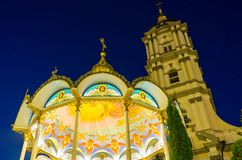 Iluminación hermosa de Pochaev Lavra Fotos de archivo libres de regalías