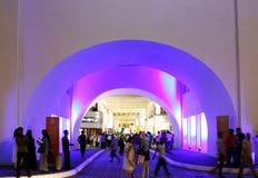 Iluminación hermosa del arco restablecido de Bahrein del Al de Bab Imagen de archivo libre de regalías