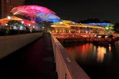 Iluminación hermosa en Clarke Quay Fotografía de archivo