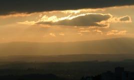 Iluminación mágica de la puesta del sol Imagen de archivo libre de regalías