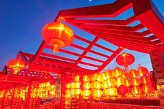 Iluminación roja de las linternas Fotografía de archivo