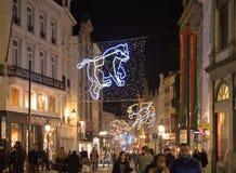 Iluminación colorida de la Navidad Imágenes de archivo libres de regalías