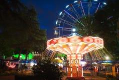 Iluminación de la noche en el parque ciudad de Riviera, Sochi Imágenes de archivo libres de regalías