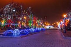 Iluminaciones de la Navidad Imágenes de archivo libres de regalías