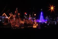 Iluminaciones de la Navidad en América Foto de archivo libre de regalías