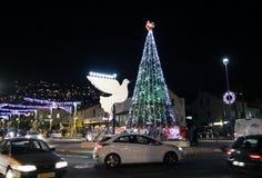 Iluminaciones de la Navidad en Haifa Fotografía de archivo libre de regalías