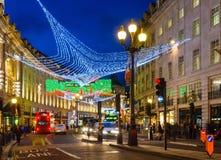 Iluminaciones de la Navidad en Regent Street, Londres Foto de archivo
