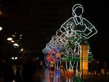 Iluminacje w ulicie podczas Sao Pedro festiwalu Povoa De Varzim, Portugalia zdjęcia stock
