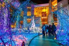 Iluminacje zaświecają up przy Caretta zakupy centrum handlowym w Odaiba, Tokio obraz royalty free