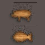 Iluminado ajustado de quadros indicadores de madeira Imagem de Stock Royalty Free