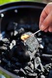 Iluminando um matchstick, combustão nuclear um carvão Fotos de Stock Royalty Free