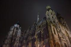 Iluminated哥特式大教堂,夜场面 库存照片