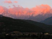Iluminated And Aflame Himalayas, Kangra India Stock Image