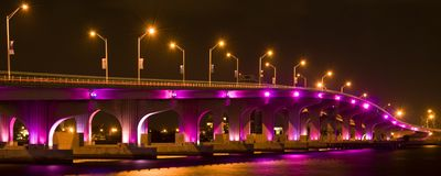 Illuminated bridge in Miami Royalty Free Stock Photo