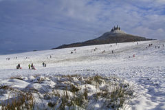 Iluminated Castle Hohenzollern in the wintertime Stock Image