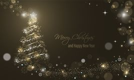 Iluminated Christmas tree with glitter, stars, snowflakes and transparent circles on a winter glowing  background. Merry Christmas and Happy New Year wishes Stock Photo