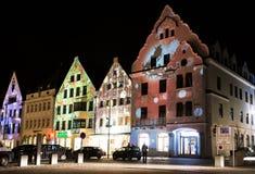 Iluminated House Facades Royalty Free Stock Images