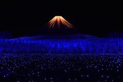 Ilumination av det Fuji berget Royaltyfri Bild