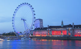 Ilumination of the London Eye Stock Photography