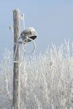 Iluminazione pubblica incrinata nell'inverno Fotografia Stock
