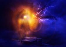 Iluminazioni pubbliche nella notte illustrazione vettoriale