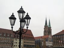 Iluminazioni pubbliche a Norimberga, Germania fotografie stock libere da diritti