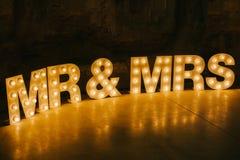 Ilumine acima letras Fotos de Stock Royalty Free