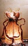Ilumine acima o anjo da árvore de Natal imagem de stock