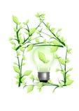Ilumine na casa verde ilustração royalty free