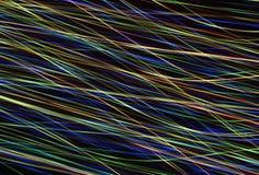 Iluminująca abstrakcjonistyczna cyfrowa fala rozjarzony cząsteczek i racy obiektywu lekki skutek Futurystyczna ilustracja cząstec Fotografia Royalty Free