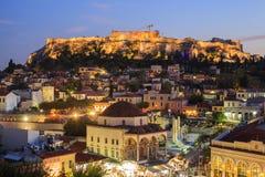Iluminująca akropol skała Ateny, Grecja Zdjęcie Royalty Free