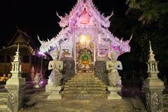 Iluminująca Wata Sri Suphan srebra świątynia w Chiang Fotografia Royalty Free