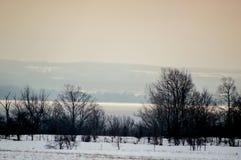 Iluminująca zatoka na mgłowym dniu w zimie Zdjęcie Stock
