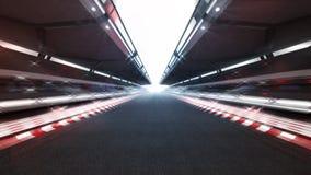 Iluminujący biegowy ślad z błyszczącymi światłami i ruch plamą Fotografia Stock