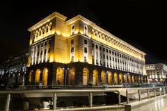 Iluminujący budynek w Sofia, Bułgaria Fotografia Royalty Free