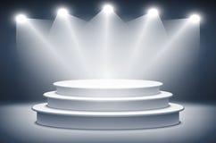 Iluminujący sceny podium dla ceremonia wręczenia nagród wektoru ilustraci Fotografia Royalty Free