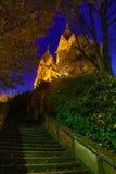 Iluminujący St Lutwinus kościół w Mettlach przy nocą Obrazy Royalty Free
