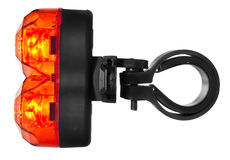 Iluminująca tylni rower lampa, klingeryt w czerwonym kolorze Zdjęcie Stock