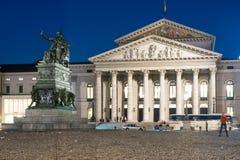 Iluminujący siedziby Theatre w Monachium Zdjęcia Royalty Free