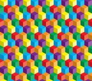 Ilusão ótica, cubo abstrato colorido do vetor Fotografia de Stock