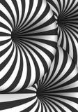 Ilusão ótica do vetor Efeito espiral do furo do túnel Linhas listradas do movimento 3D Imagem de Stock