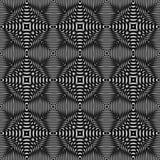 Ilusão ótica preto e branco, teste padrão sem emenda da quadriculação ilustração royalty free