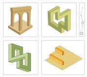 Ilusões óticas diferentes de objetos impossíveis ilustração royalty free
