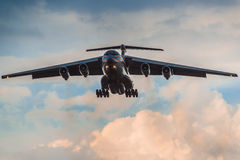 Ilushin Il-76 TD Ministry of Emergency Situations of the Russian Federation. Landing at Moscow's Domodedovo airport in a thunderstorm stock image